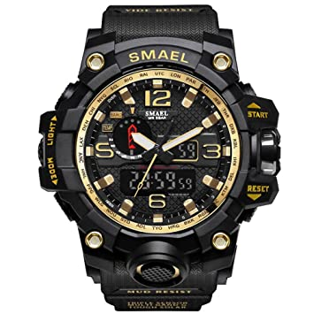 IBANSE Mens Sports Analog Quartz Watch Dual Display Waterproof Digital Watches with LED Backlight relogio masculino