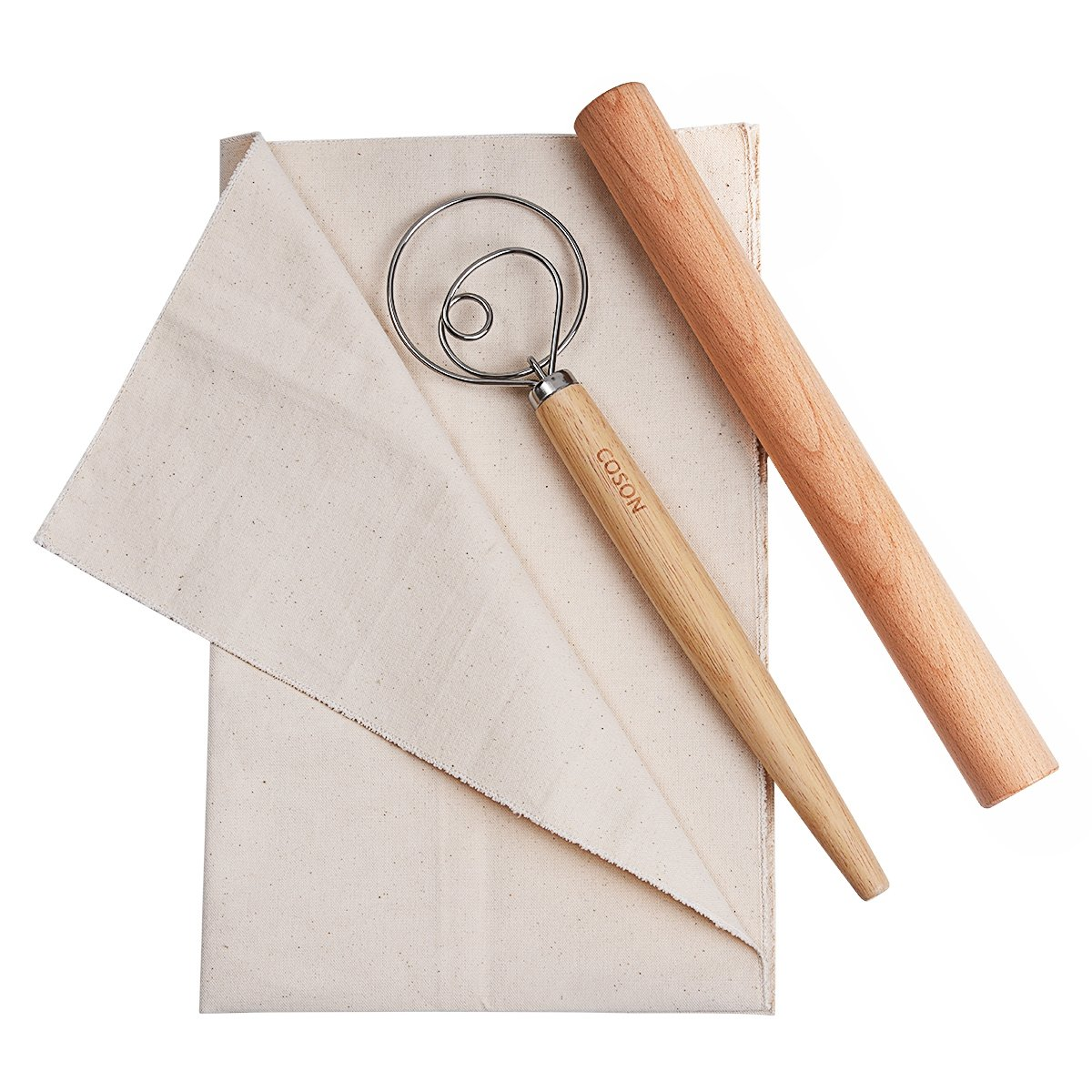 Pastry Baking Tools Set Wooden Rolling Pins 13'' Danish Dough Whisk Hand Mixer 13.5'' Baker's Couche Flax Linen Proofing Cloth 18''x29.5'' for Making Baguettes Bread Cake Pizza (Wood, X-Large)