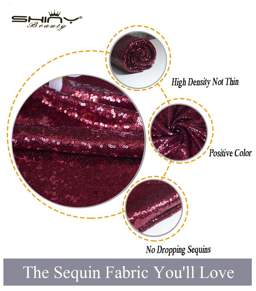 Sewing Backdrop Curtains Sequin Table Cloth Wine Glitter Sequins Fabric for DIY Handcraft Party Decor ~190502S Burgundy Sequin Fabric by The 0.5 Yard Wedding Maroon