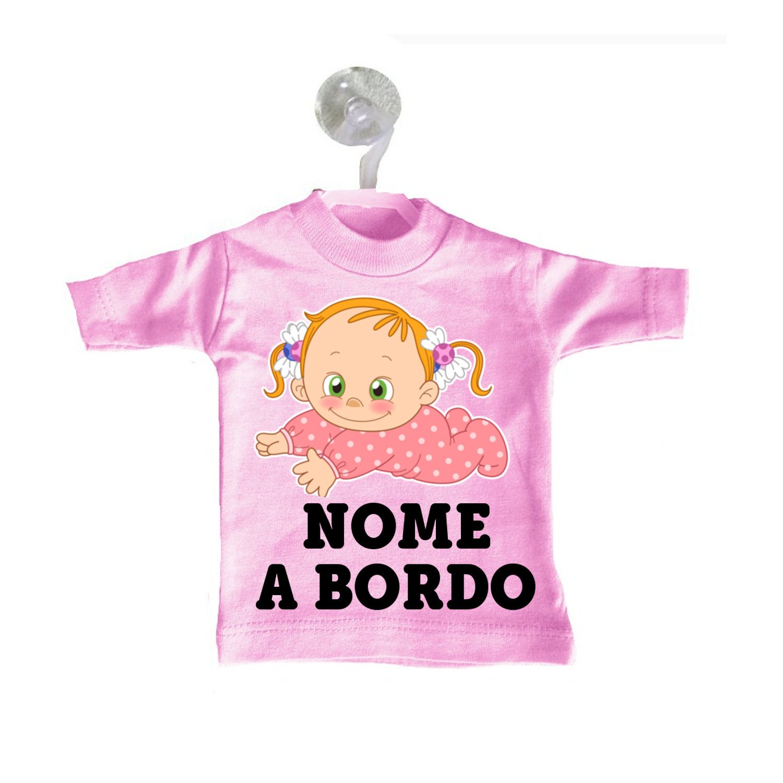 Mini T-shirt magliettina auto macchina rosa bimba a bordo personalizzata nome bebè baby codini