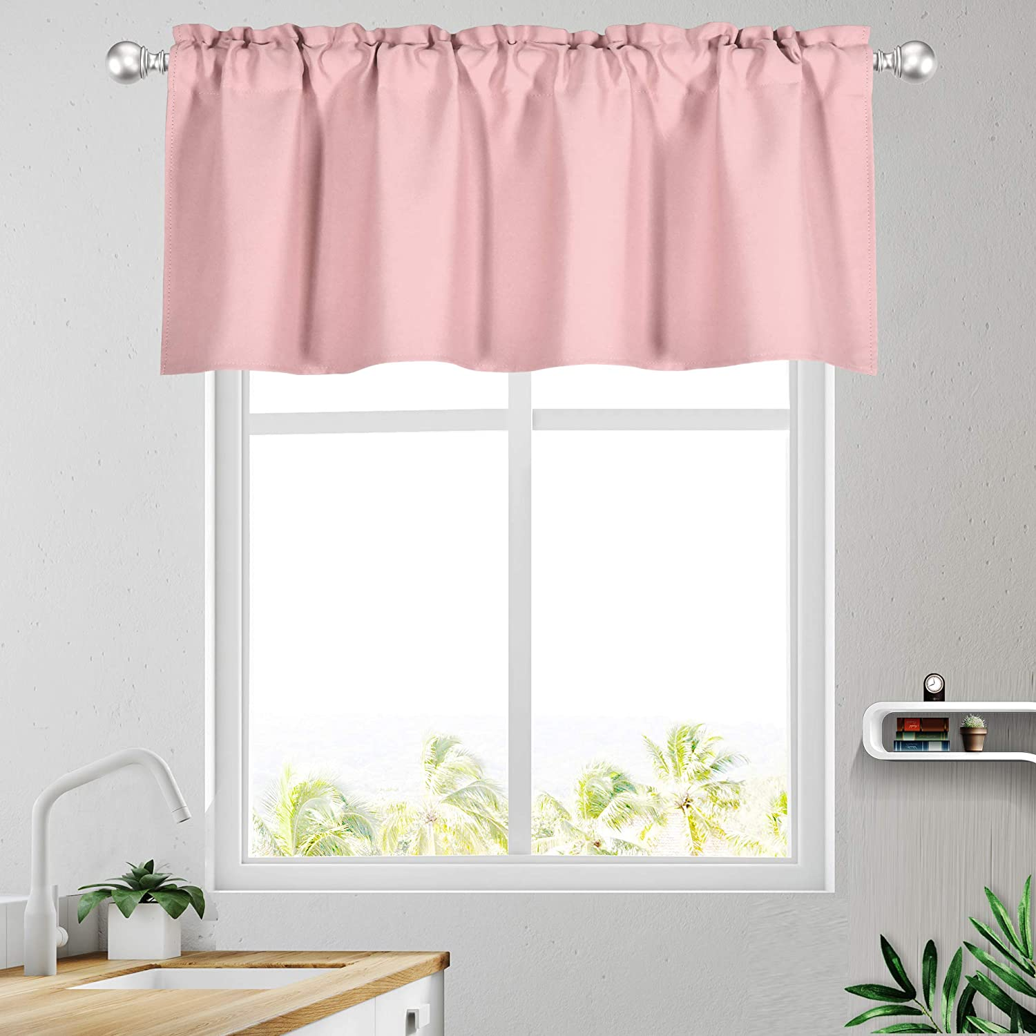 Amazon.com: KEQIAOSUOCAI Baby Pink Valance 18 Inch For Girls Room Blackout Valances Short Curtains For Kids Room 1 Panel 52 Inch Width 18 Inch Length: Kitchen & Dining