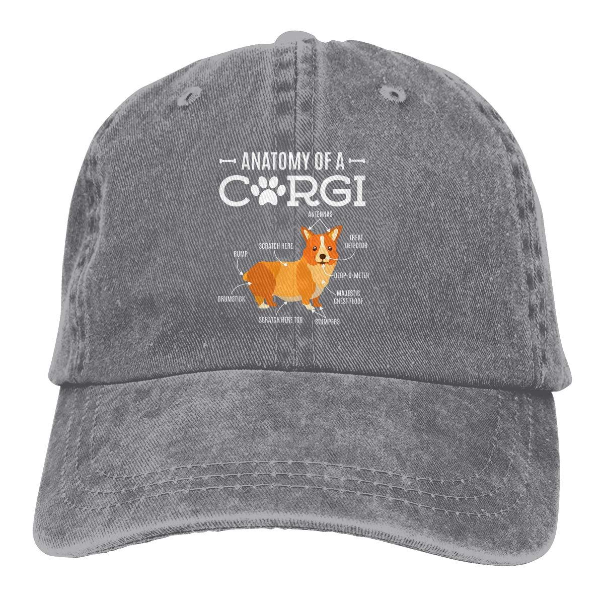 Anatomy of A Corgi Fashion Adjustable Cowboy Cap Baseball Cap for Women and Men