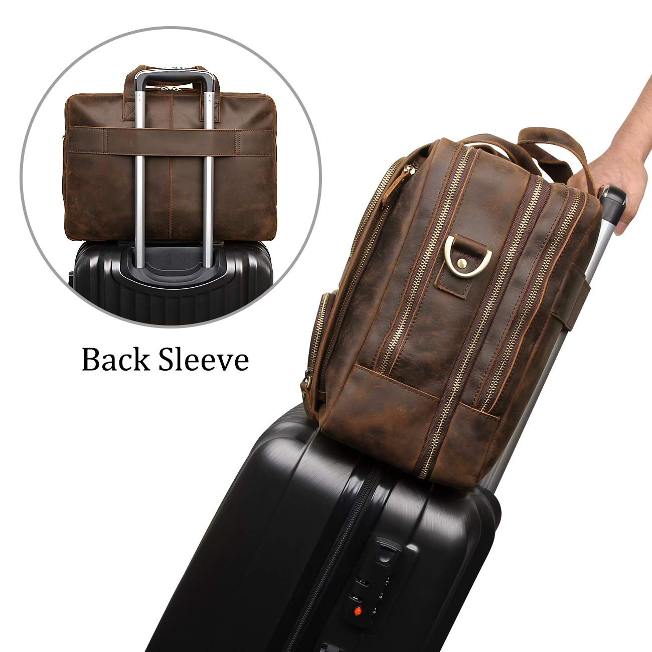 Augus Business Travel Briefcase Genuine Leather Duffel Bags for Men Laptop Bag fits 15.6 inches Laptop by Augus (Image #2)