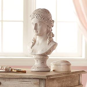 "Classic Greek 17 1/2"" High Antique White Bust Sculpture - Kensington Hill"