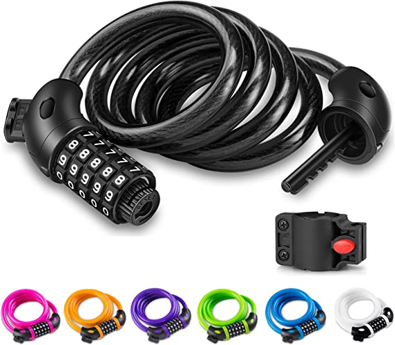 STRONG BICYCLE BIKE 4 DIGIT CODE COMBINATION LOCK 1200mm LONG SPIRAL STEEL CABLE