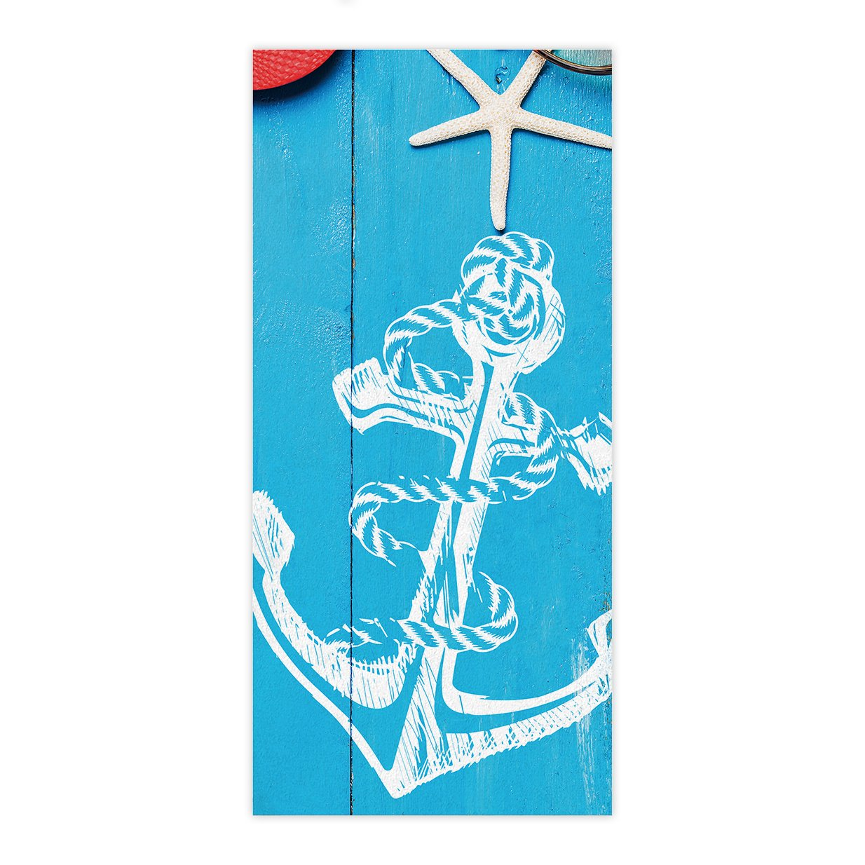OxOHome Custom Bath Towel Quick Dry Absorbent Towels Spa Shower Wrap for College Dorms, Gyms, Locker Rooms, 27.5 x 55 inch - Summer Ocean Theme - Starfish Anchor Sunglass Hat Flip Flop