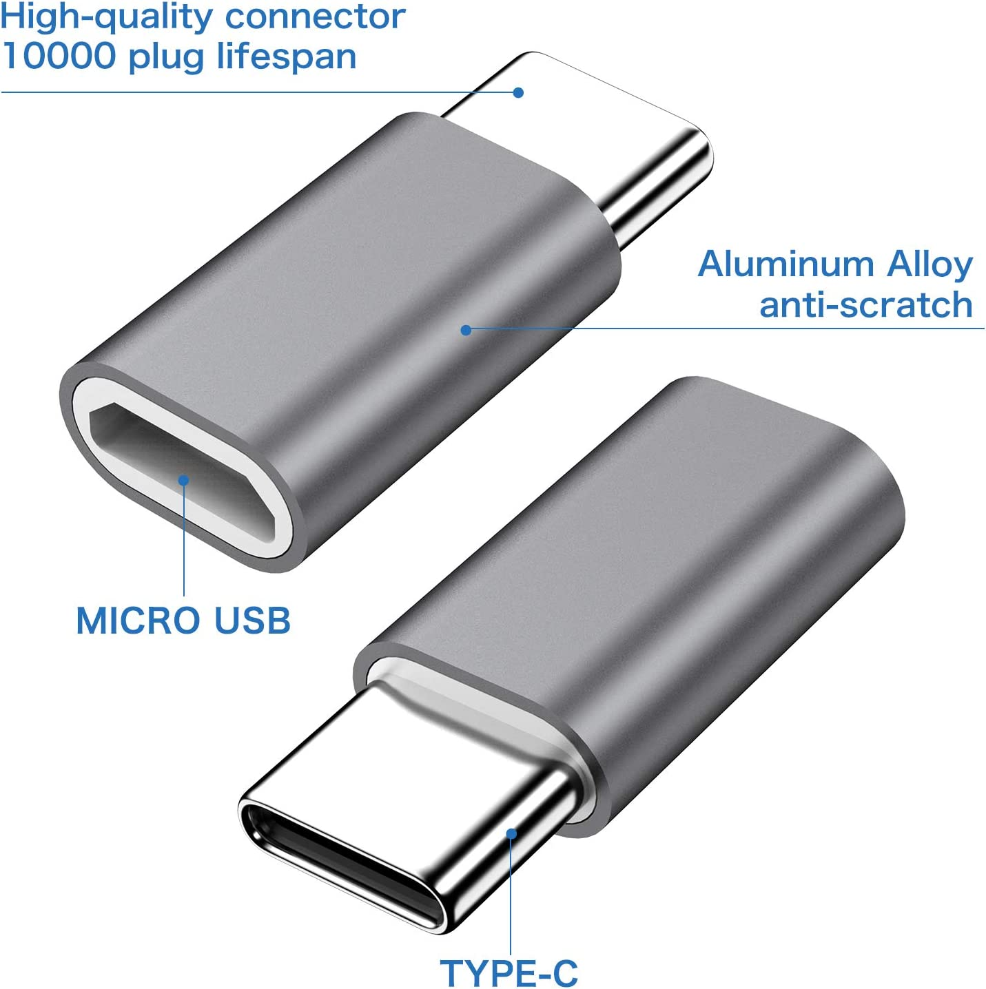 Micro USB to USB C Adapter,8-Pack Aluminum USB Type C Adapter Convert Connector Compatible with Samsung Galaxy S10e S9 S8 Plus Note 9 8 LG V35 V30 V20 G7 G6 G5,Pixel 2 XL,Moto Z2 Z3 Blue