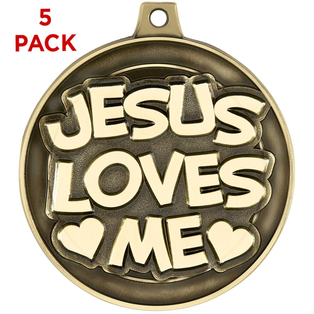 Jesus Loves Me medals-2」、5 per pack-great for religiousイベント、宗教Awards、カトリック学校、教会 B01N0R7XKD