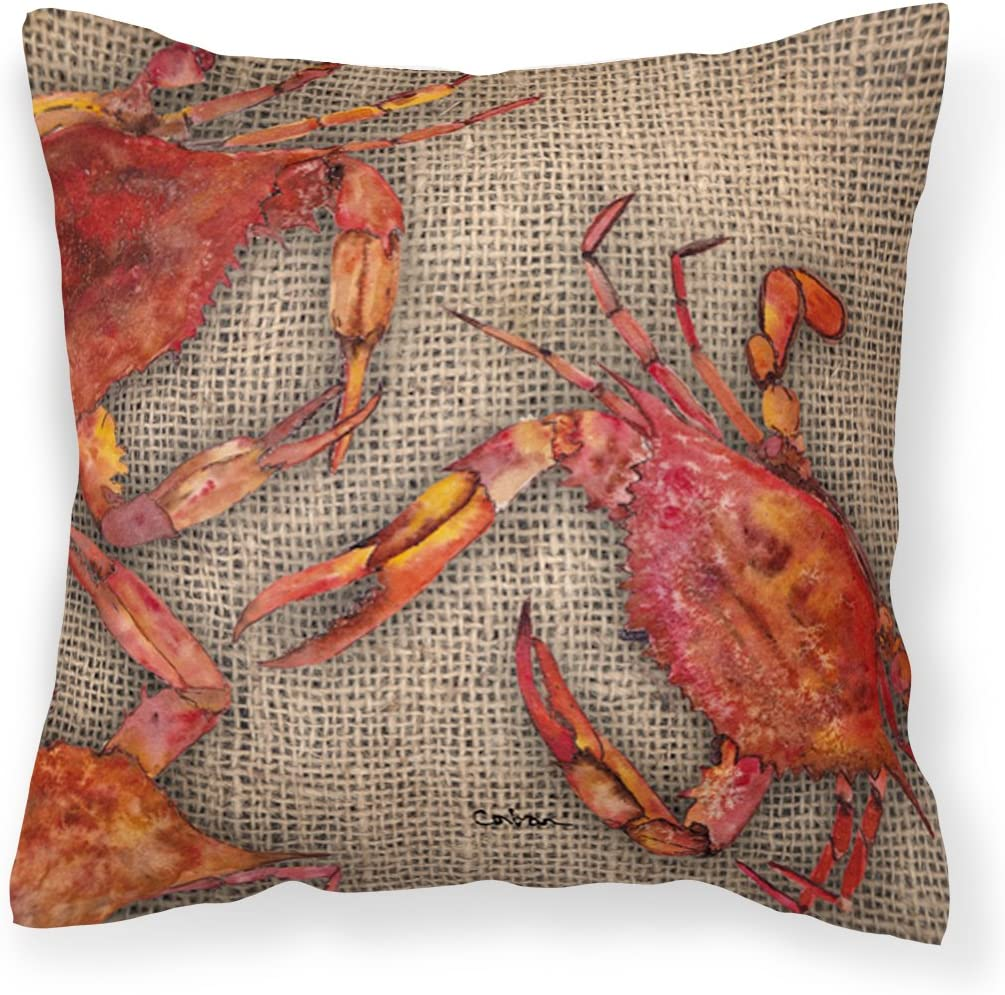 Caroline s Treasures 8742PW1414 Crab Decorative Canvas Fabric Pillow, 14Hx14W, Multicolor