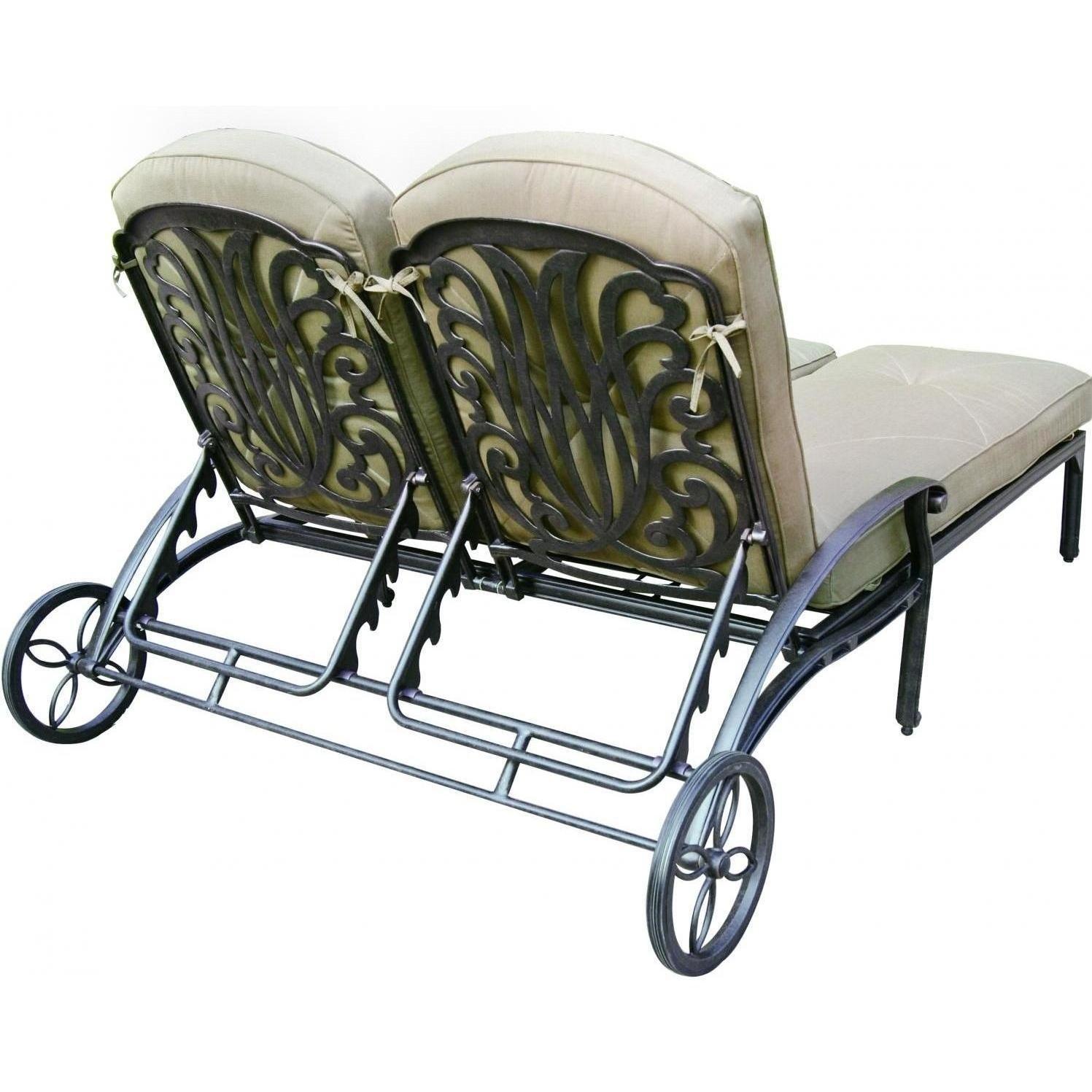 K B PATIO LD777-99 Elizabeth Double Chaise Lounge with Cushion, Antique Bronze