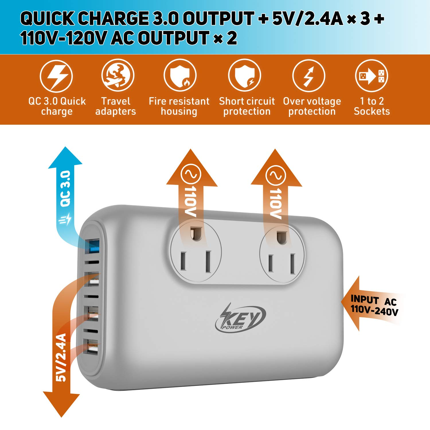 Key Power 220V to 110V Step Down Voltage Converter and International Travel Adapter, for CPAP, Hair Straightener Flat Iron, Hair Curling Iron, Toothbrush, Laptop - [Safely Use USA Electronic Overseas] by Key Power (Image #2)
