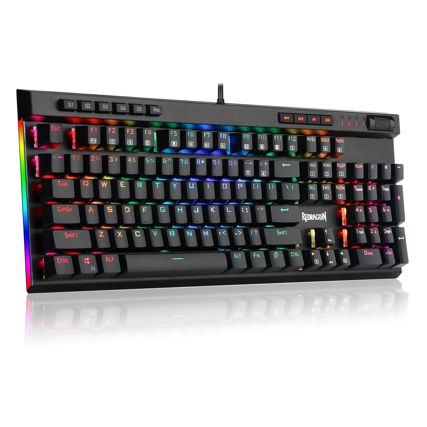 Redragon K580 VATA RGB LED Backlit Mechanical Gaming Keyboard 104 Keys Anti-ghosting with Macro Keys & Dedicated Media Controls, Onboard Macro Recording (Blue Switches)