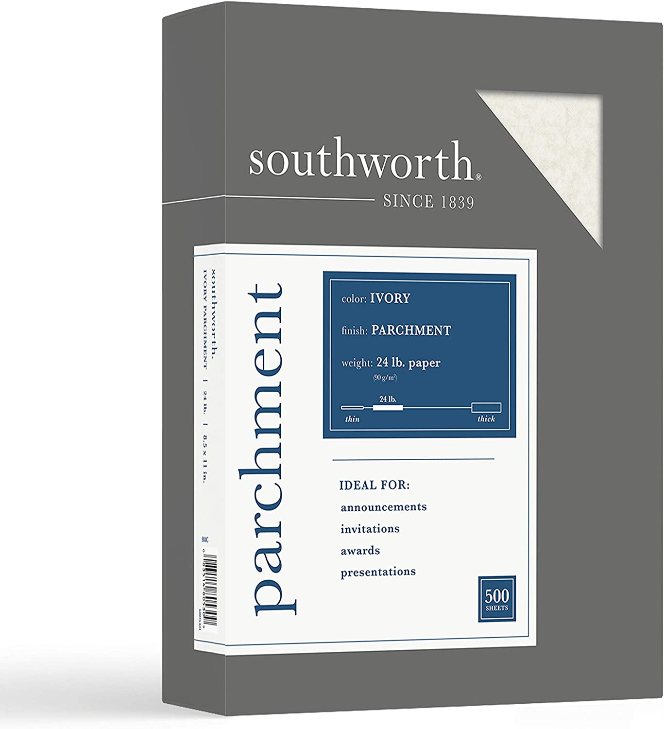 "Southworth Parchment Paper, 8.5"" x 11"", 24 lb/90 gsm, Ivory, 500 sheets - Packaging May Vary (984C)"