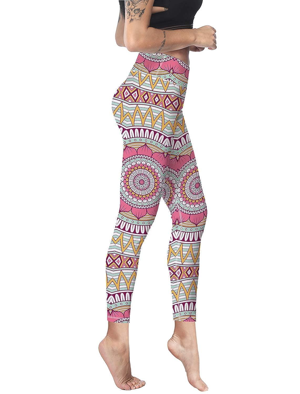 Custom Leggings Women High Waist Soft Yoga Workout Stretch Printed Mandala Boho Style Stretchy Capris Pants