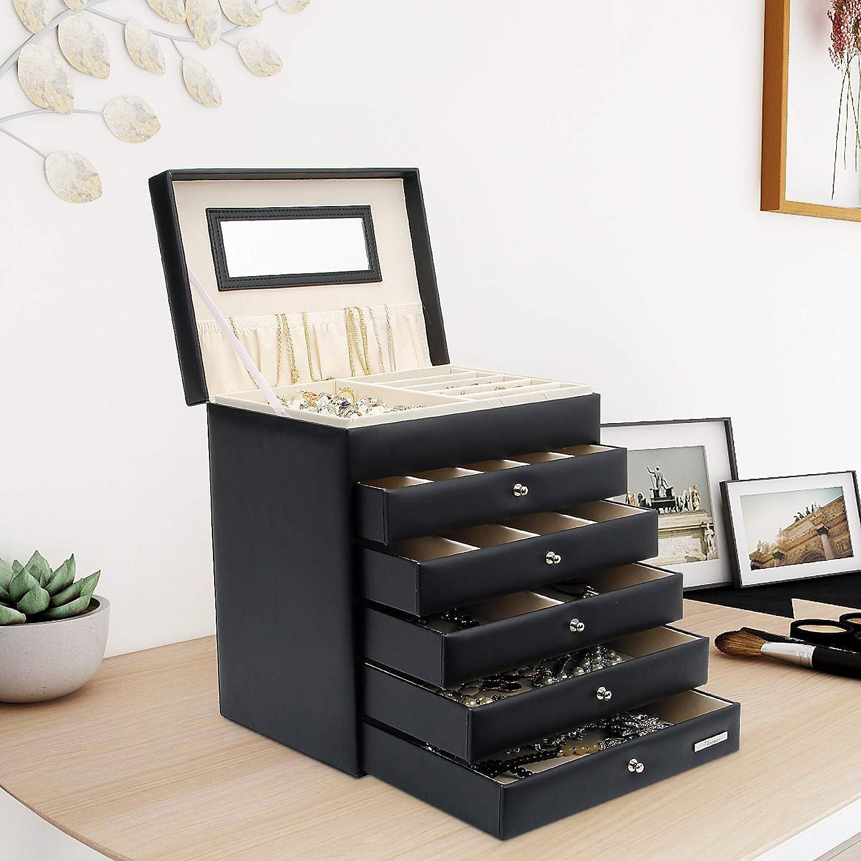 5 cassetti, Nero Yorbay Portagioie Scatole per Gioielli Custodia con Specchio Cofanetto Orologi braccialletti Anelli Riutilizzabile