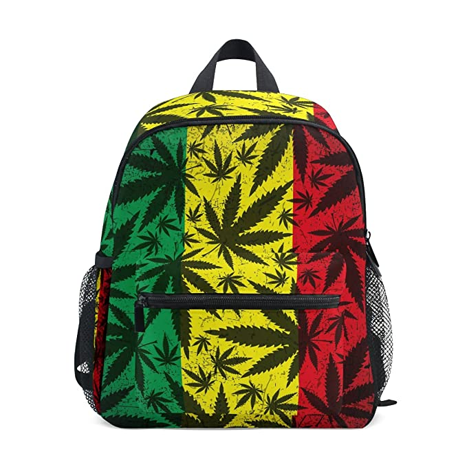 f4df7c568e2d Amazon.com | LORVIES Cannabis Leaf On Rastafarian Flag Mini Kids ...