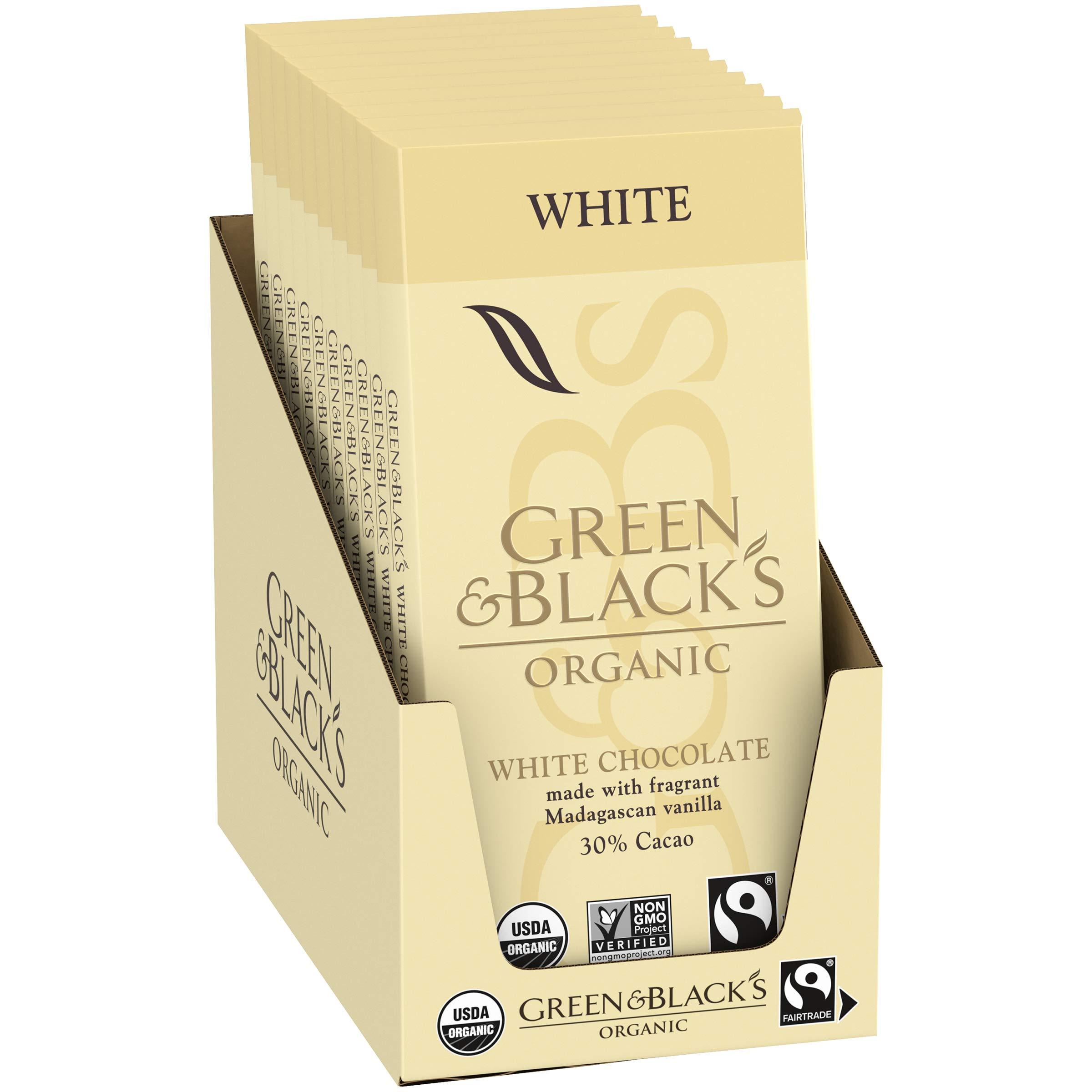 Green & Black's Organic White Chocolate with Vanilla, 30% Cacao, 10 Count per pack, 31.7 Ounce by Green & Black's