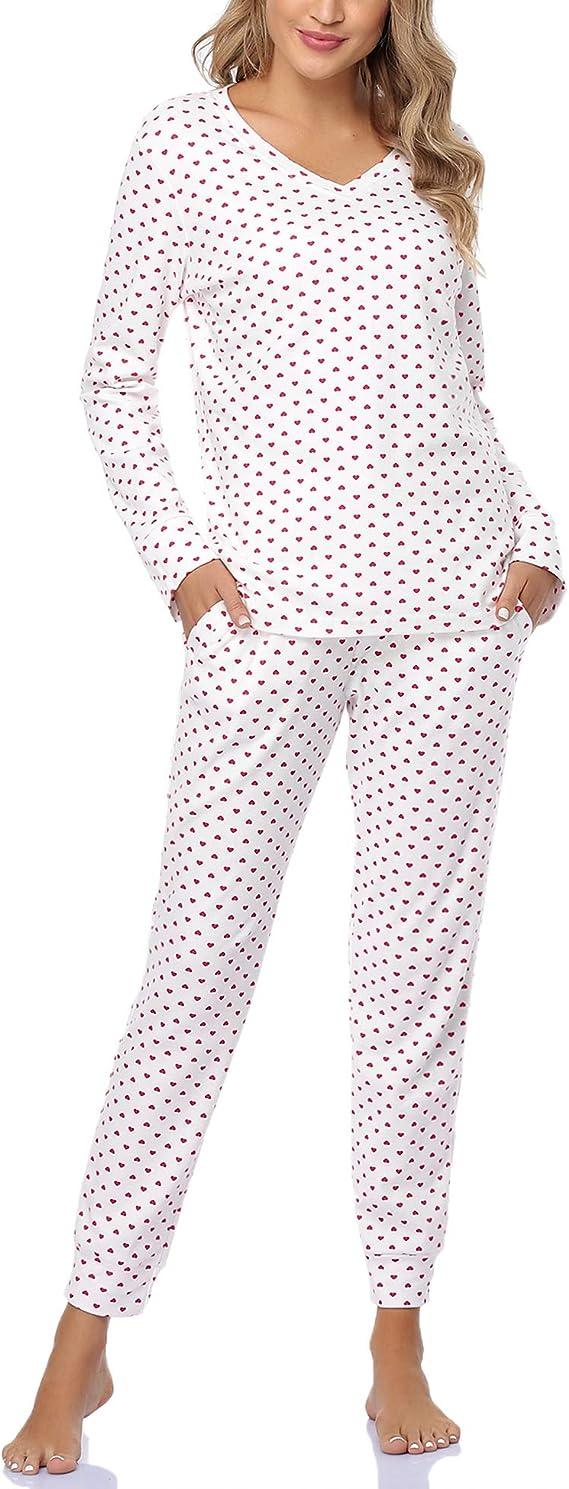 Akalnny Pijama Mujer 100% Algodón con Mangas Largas Suave Cómodo Conjunto de Pijamas de Lunares Invierno con Bolsillos Estar por Casa a Rayas