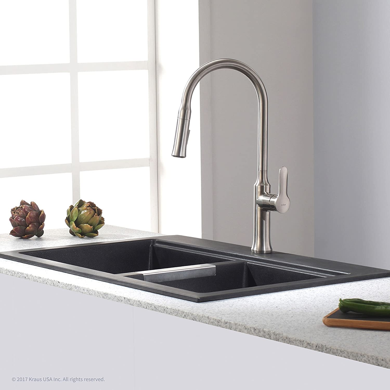 Kraus Quarza Dual Mount 50/50 Double Bowl Black Kitchen Sink ...