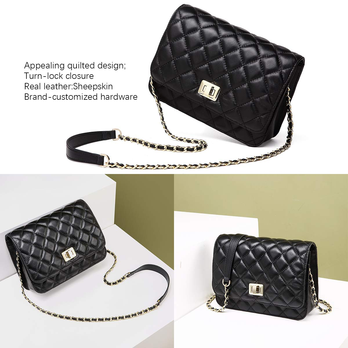 NEVEROUT Women Soft Lamb Leather Classic Quilted Cross-body Shoulder Bag  Clutch Handbag Purse with Chain Strap (NP1991) (Black)  Amazon.co.uk  Shoes    Bags 49e5f5ae26b05