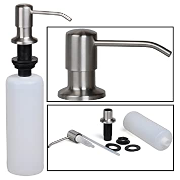 Stainless Steel Built In Pump Kitchen Sink Dish Soap Dispenser Large Capacity 17 Oz Bottle