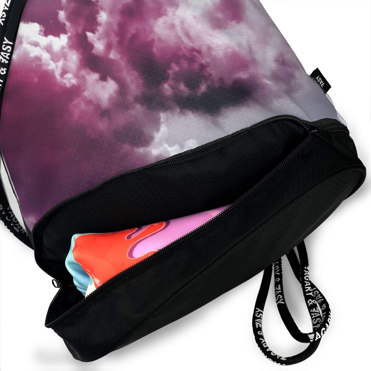 Women Kji Gym Sack Drawstring Bag Sport Cinch Pack Backpack for Men Cloud Pattern Printed Sackpack