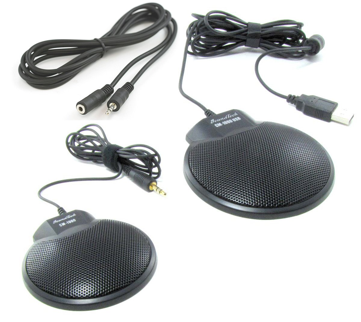 Sound Tech CM-1000USB & CM-1000 (pack of 2) Conference Meeting Microphone with 6 feet Extension Cord AAAPrice