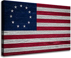 American Betsy Ross Flag Canvas Print Framed Room Decor - USA Flag Wall Art -Old Glory Country Flags Artwork - Retro Sun Poster Painting - History Buff Gifts - Gallery Wrap