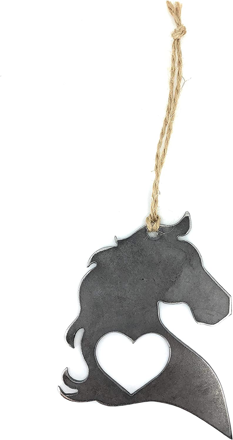Ella Sussman Handcrafted Rustic Horse Pony Colt Heart Hanging Ornament Industrial Décor Rearview Car Made in The USA