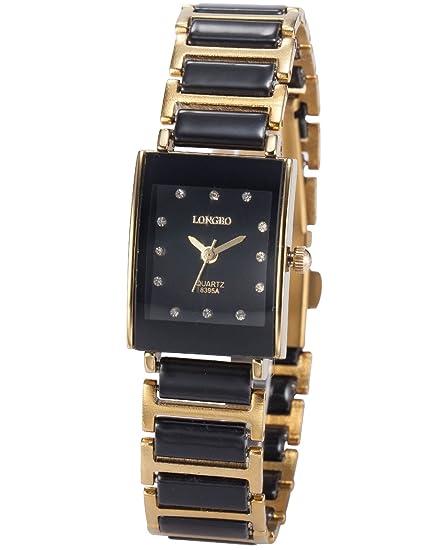AMPM24 WAA771 Reloj Mujer de Cuarzo, Correa de Acero Negro y Dorado