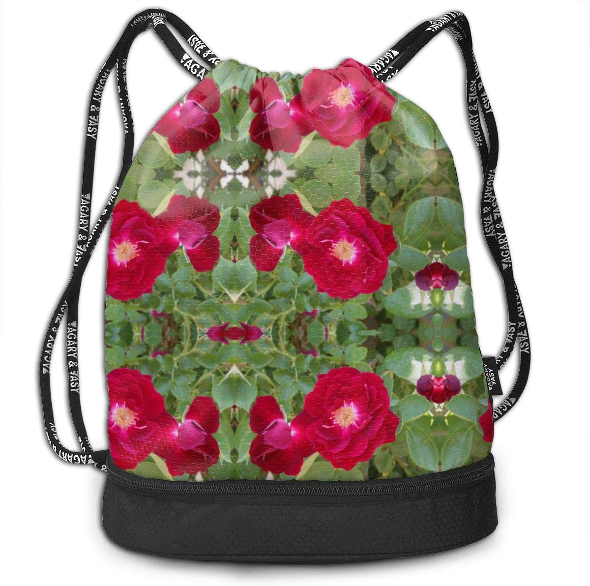 Red Rose Drawstring Backpack Sports Athletic Gym Cinch Sack String Storage Bags for Hiking Travel Beach