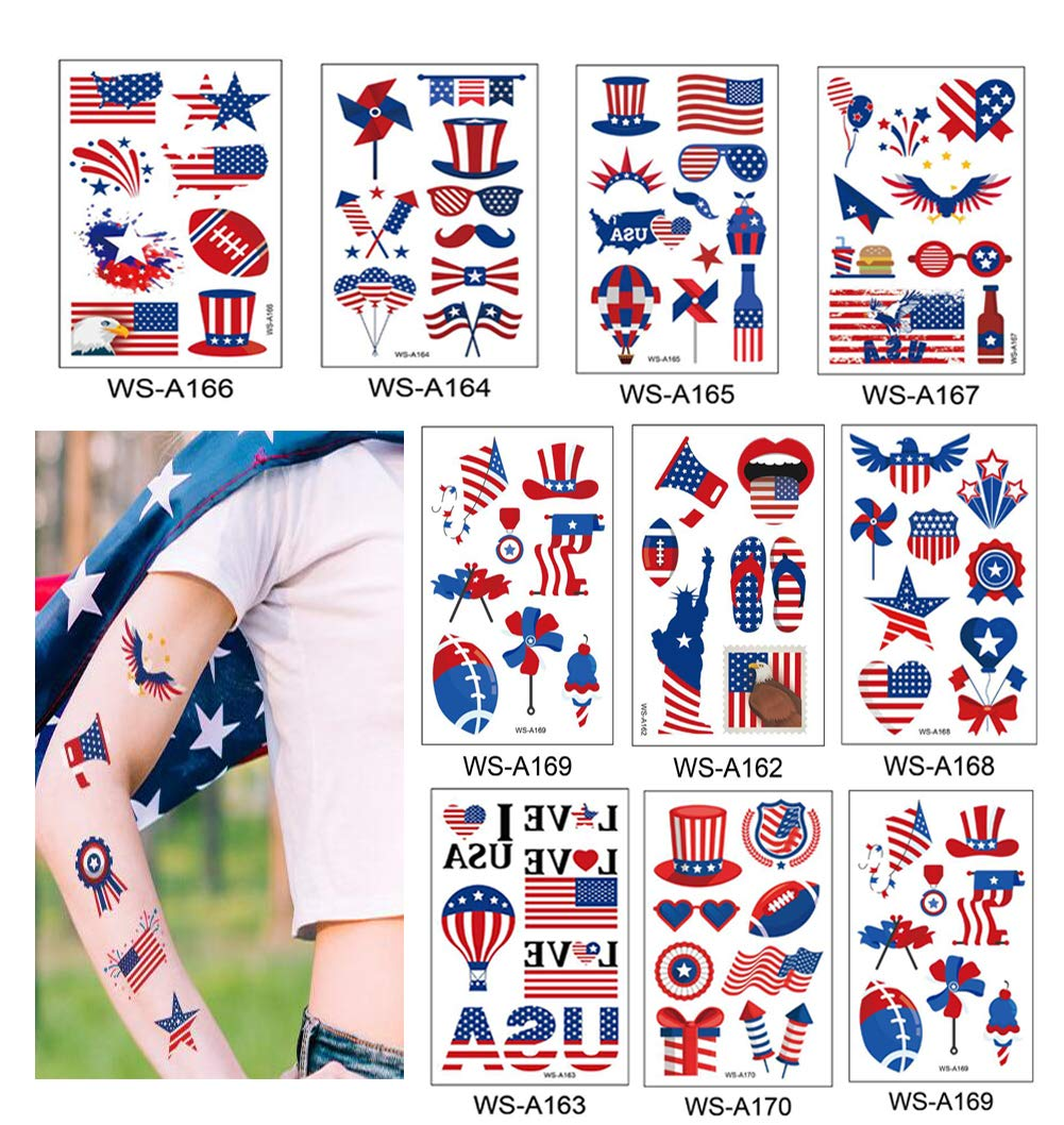10 pieces Fourth of July Decorations Temporary Tattoos Independence Day Patriotic Temporary Tattoo Stickers Red White and Blue Party Supplies (July 4th Tattoos) 4.72×2.99 inch