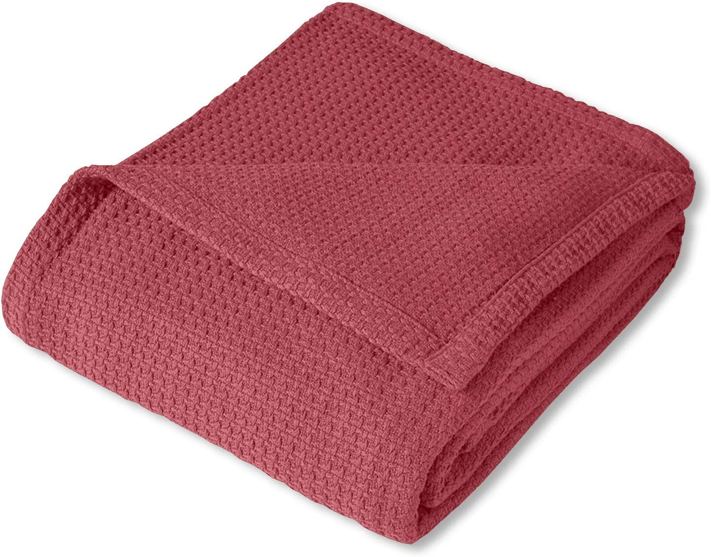 Sweet Home Collection 100% Fine Cotton Blanket Luxurious Basket Weave Stylish Design Soft and Comfortable All Season Warmth, Full/Queen, Burgundy Red