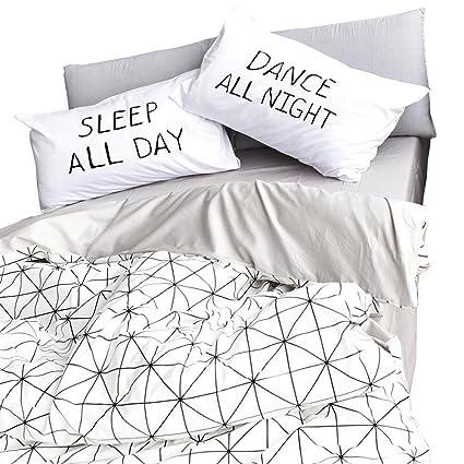 Amazon Com Highbuy 100 Cotton Geometric Pattern Duvet Cover Set