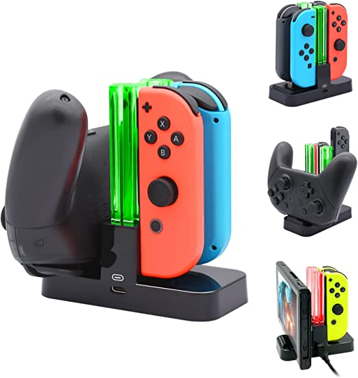 FASTSNAIL Controller Charger for Nintendo Switch, Charging Dock Stand Station for Switch Joy-con and Pro Controller with Charging Indicator and Type C ...