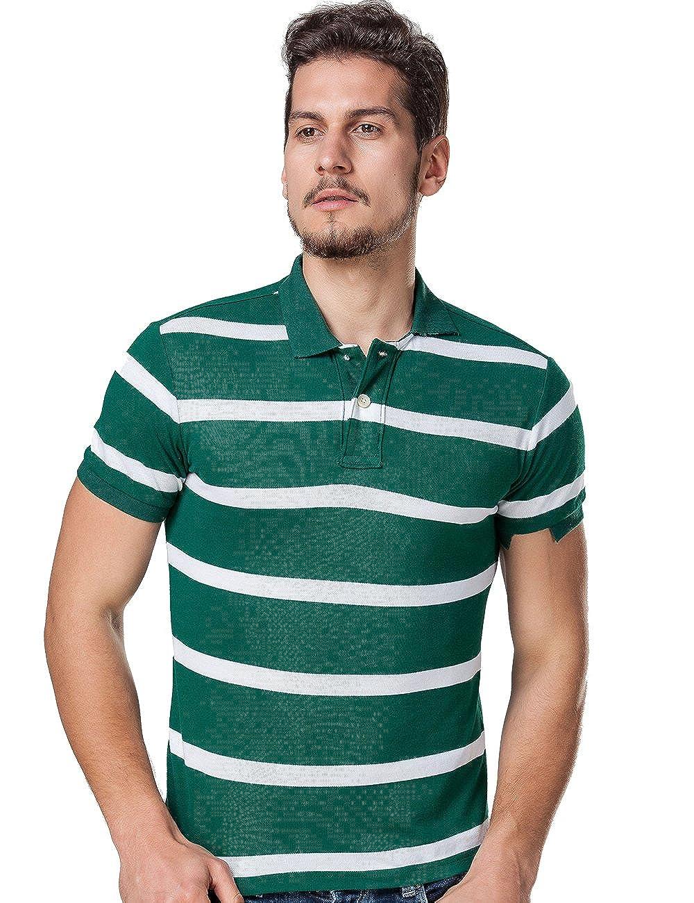 Dgglife Mens Polo Shirts Athletic Color Stripes Slim Fit Short