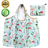 Reusable Grocery Bags,21''×18''Large Capacity - Hold 30+ lbs -,Super Strong Heavy Duty Cute Grocery Tote Foldable into Attached Pouch, Polyester Reusable Shopping Bags, Washable