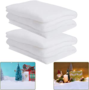 2 Pack 3 x 8feet Christmas Snow Blankets- Thickened White Cotton Blanket Fluffy Artificial Snow Carpet Fake Snow Covering Decorations Xmas Party Favors for Xmas Tree Table Runner Decor Village Display