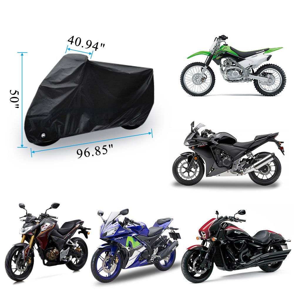 Motorcycle Cover Universal Fit Oxford Fabric Waterproof Breathable Rain Sun UV Dust Outdoor All Weather Protection with Lock Hole (Fits Motorbike up to 96'', Black) by LEDKINGDOMUS (Image #3)
