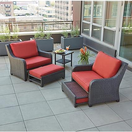 Beau Hampton Bay Sauntera 5 Piece Wicker Patio Seating Set With Red Cushions