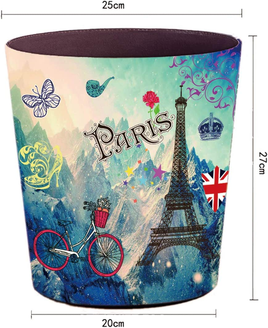 Office and More Bedroom Decorative Trash Can Waste Paper Basket Waste Container Bin for Bathroom 10L Capacity Bird Butterfly Lingxuinfo Retro Style Small Trash Can Wastebasket