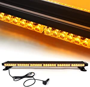 38'' 78 LED 7 Flash Mode Traffic Advisor Four Side Rooftop Emergency Hazard Warning Strobe Light with Four Strong Magnetic Base, 78W, IP65 Waterproof for Snow Plow, Trucks or Construction Vehicles
