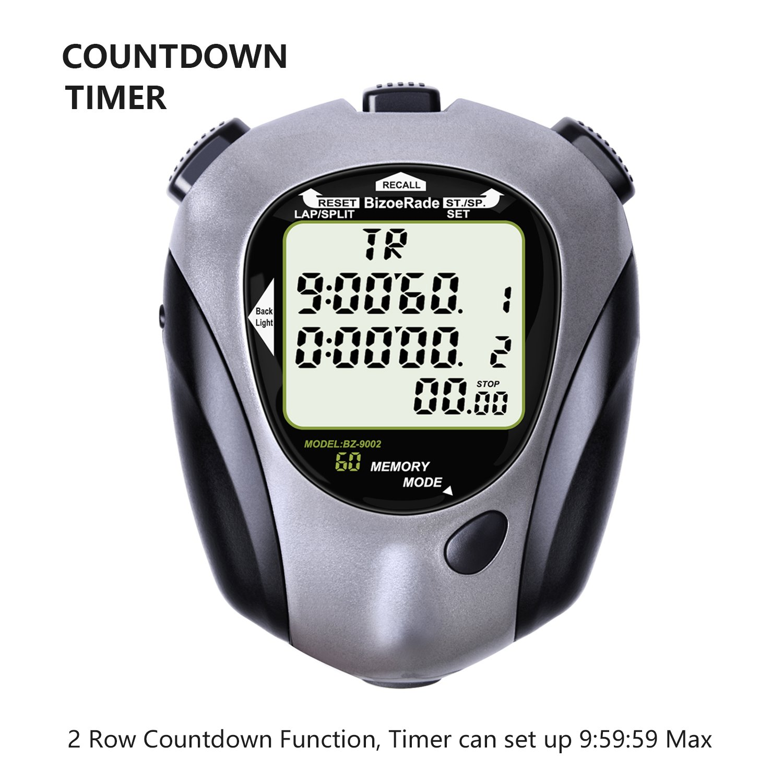 BizoeRade Stopwatch,60 Lap-split Memory Digital Sport Stopwatch,Countdown and Metronome Fitness Timer,EL Backlight(Gray)