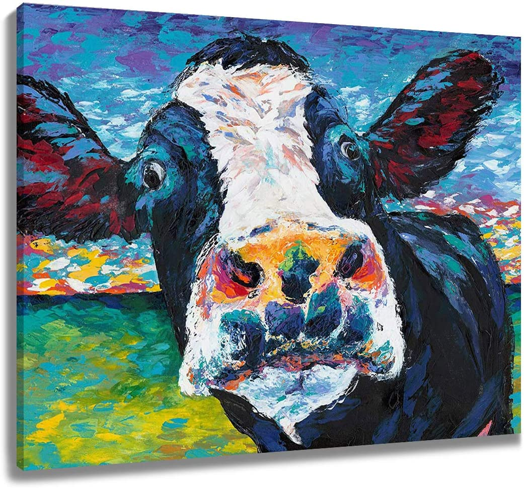 LB Personalized Framed Farm Curious Cow Canvas Wall Art Colorful Farmhouse Animal Cattle Face Painting Canvas Prints Wall Decor Living Room Bedroom Bathroom Home Decor Ready to Hang,16x12 inch