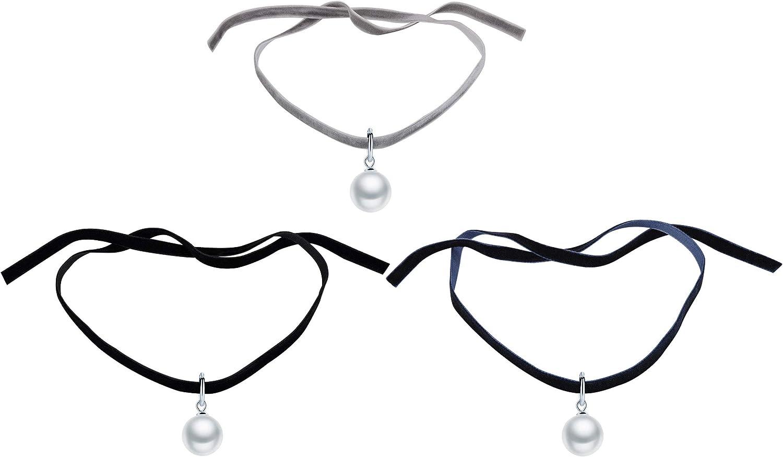 Yumilok-Cadena de Clavícula Moda Choker Cuerda de Terciopelo Colgante de Perla y Plata 925 Color de Negro/Gris/Azul, Idea Regalo para Mujeres,Chicas