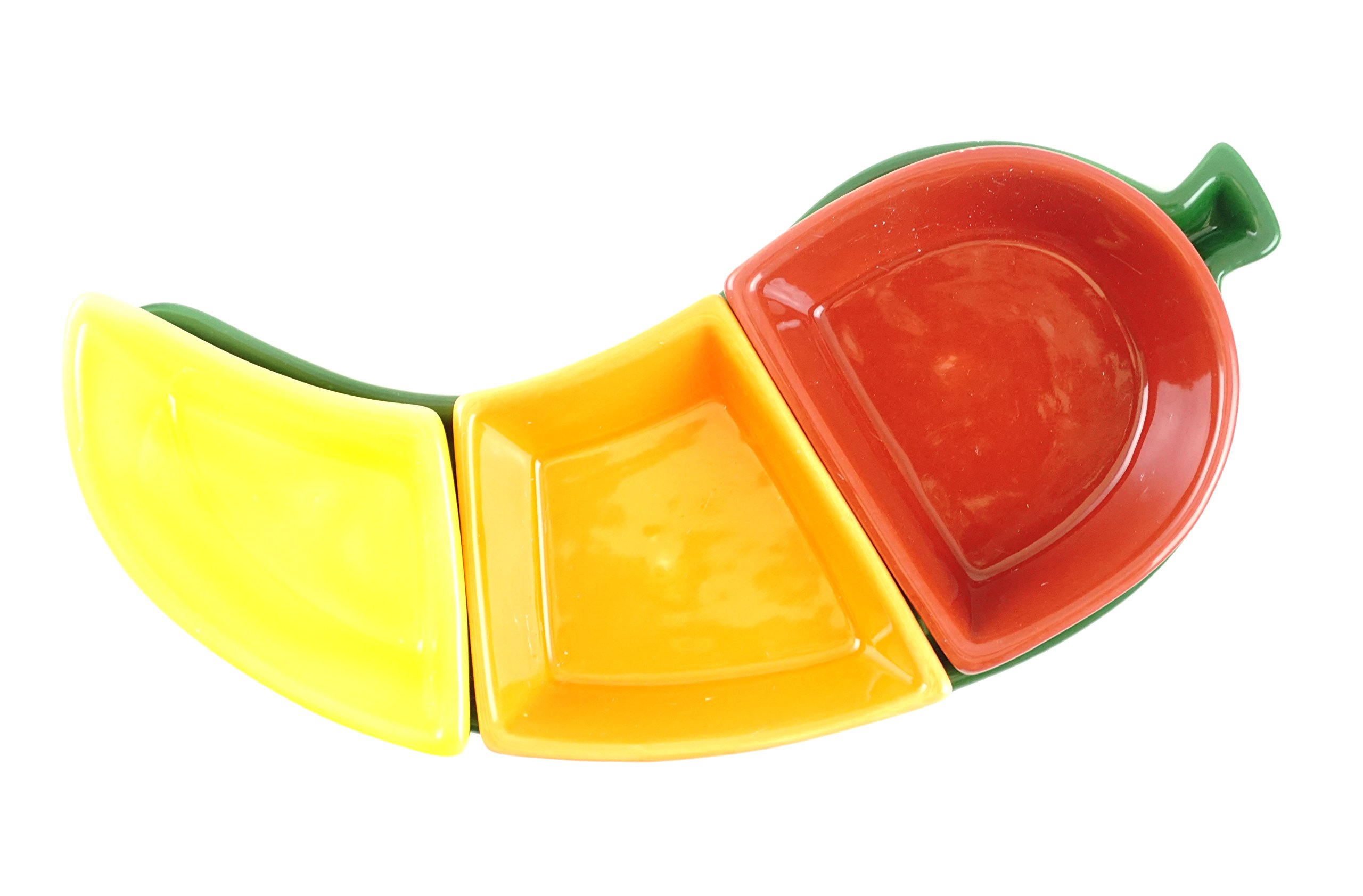 Fiesta Chili Pepper Tray with Stackable Dip Salsa Bowl Dish Set by Meadow Farms (Image #2)