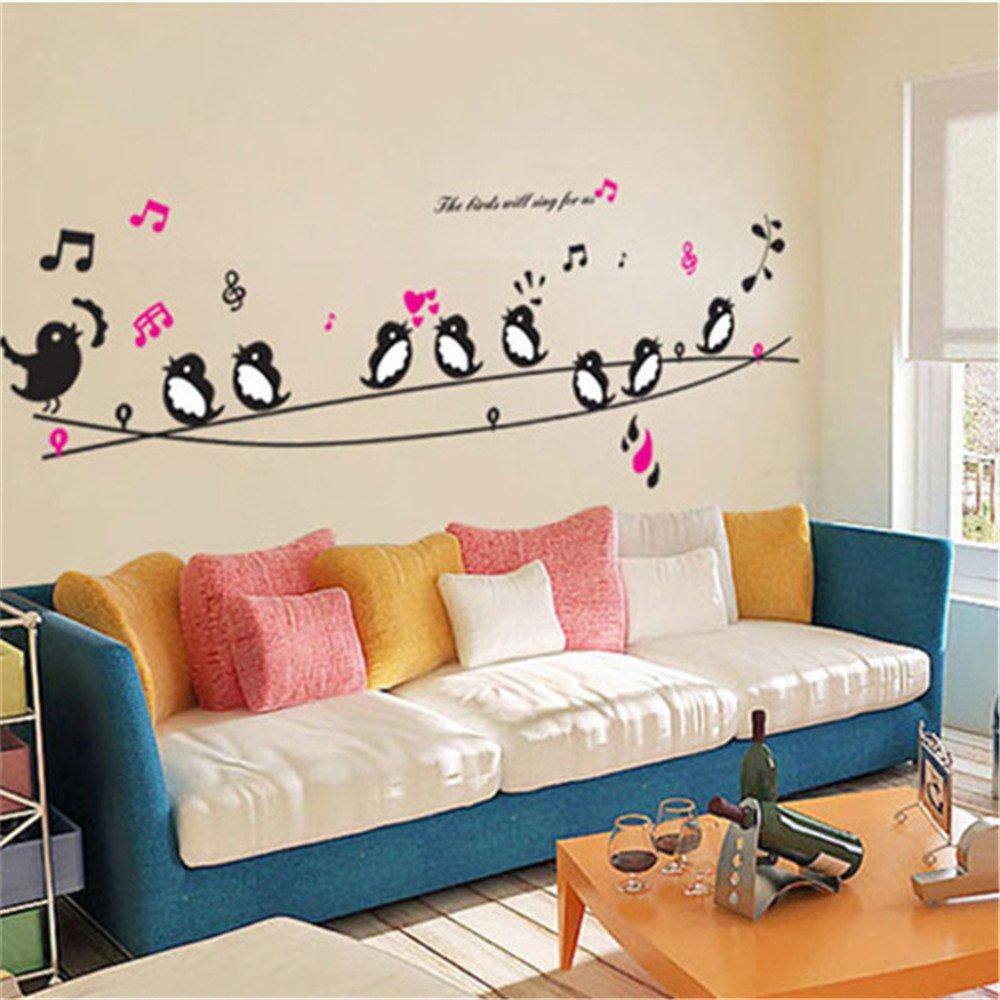 GTNINE Singing Birds Vinyl Wall Decals Modern Wall Art Wall Murals Wall  Stickers for Living Room Bedroom Kitchen Wall Decor Home Window Glass
