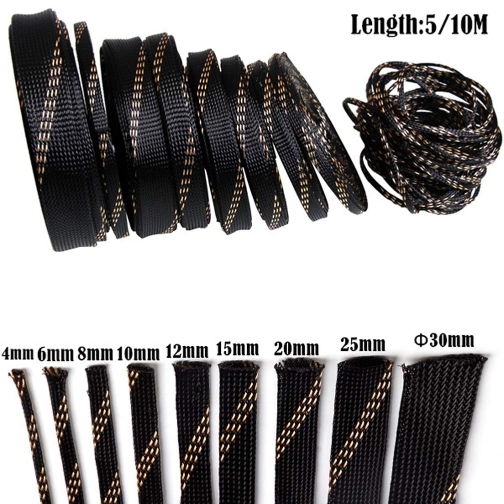 10M 4-20mm Braided Expandable Cable Sleeve Wire Protection High Density Sheathing Insulated Wire Wrapper