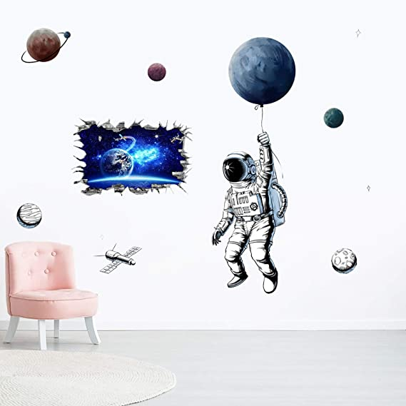 Astronaut Wall Sticker Outer Space Planets PVC Creative Bedroom DIY Art Decals