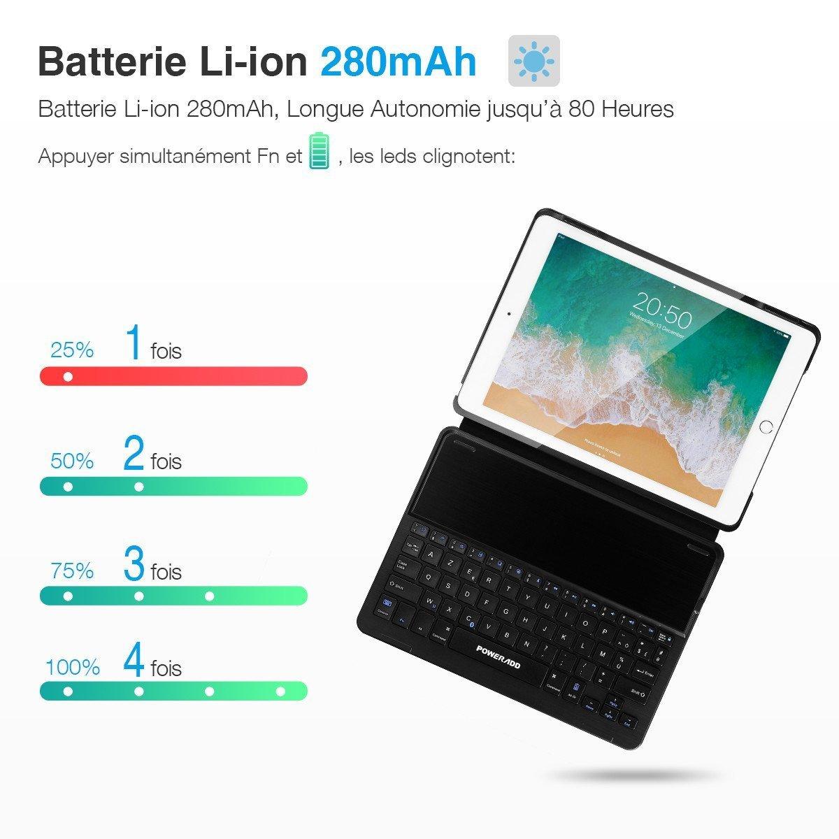 Poweradd Clavier Bluetooth pour iPad Clavier Français AZERTY avec Etui Housse Sans Fil, Compatible avec iPad Air 2 et iPad Pro 9.7
